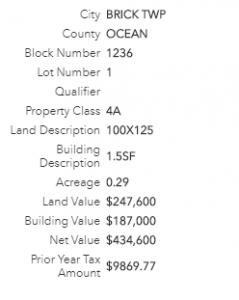 Tax info detail
